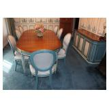 French Provençal Dining Table, Chairs, & Hutch - w/ 2 leaves