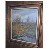 signed Oil painted w/ Pheasants