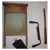 incl. washboard, draw shave, buck saw etc.