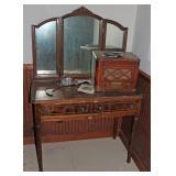 Antique Vanity & radio