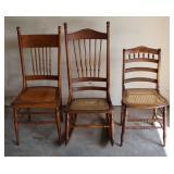 Antique cane bottom chairs/rocker