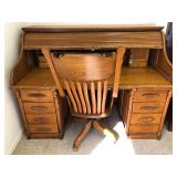 Large Antique S Type Roll Top Desk with Rolling Chair