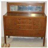 Arts and Crafts Quarter Sawn Oak Buffet with Mirror