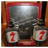 Seagrams Back Bar Mirror and Lanterns
