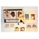 #556 Mickey Mantle lot - Org. Hartland Statue, signed artwork MM & Mays, (4) Porcelain cards
