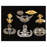 #456 Sterling & Silver Filled Military pin lot of 8