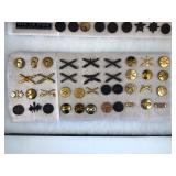 #478 US Army pin lot incl. Artillery, Insignia corps, Chemical branch pins, etc.