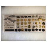 #479 Variety Pin lot incl. Civilian Air Patrol badges, US Officer pins, Chaplin, etc.