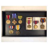 #498 World War I-II metals lot of 8 incl. Distinguished Flying Cross