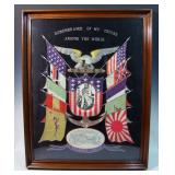 Rare WWI Naval embroidered silk Remembrance of my Cruise Around the World