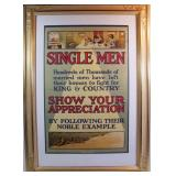 Dated 1915 WW1 Recruiting Poster for Single Men into the British Military Service
