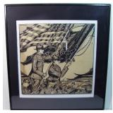 WWI Original ink illustration of marching Infantry with flags