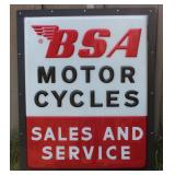 BSA Motor Cycles Sales and Service sign