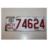 Michigan 1914 License plate- Porcelain