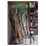 misc. yard tools incl. rakes, shovels