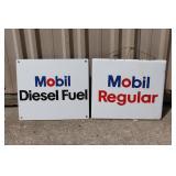 #84 2 Mobil Fuel grade porcelain signs