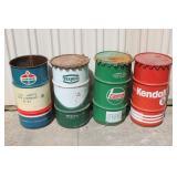 #165- 169 Oil drums- Standard, Castrol, Kendall, Texaco
