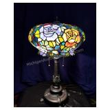 Floral Stag Glass Table Lamp