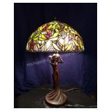 Art Nouveau Style Figural Slag Glass Table Lamp