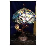 Owl Art Glass Table Lamp