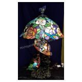 Trio of Butterflies Art Glass Table Lamp