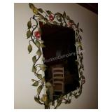 Beautiful Roses on Vine Metal Art Wall Mirror