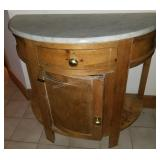 Antique Half-Moon Marble Top Commode