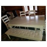 Country Dining Room Table with Chairs & Bench