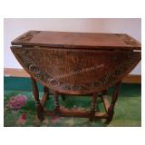 Beautiful Drop Leaf Table with Carved Accents