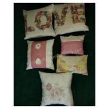Group of 6 Hand Made Throw Pillows