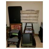 Step Stool, Folding Table, Fabric Bins, Wood Crate