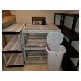 Storage Shelves and Garbage Can