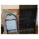 Dog Crate and Pair of Folding Chairs
