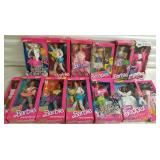 Group of 13 Cool Times Barbie Dolls and More