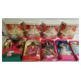 Group of 9 Barbie Dolls with Holiday Barbies