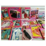 Group of Barbie Clothes and Brooke Shields