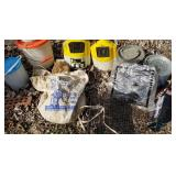Group of Fishing Bait Buckets, Traps and More