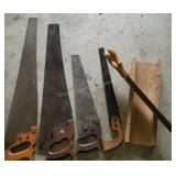 Group of Wood Handle Hand Saws and Mitre Saw