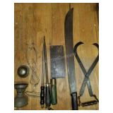 Antique Kitchen Goods with Machetti & Meat Cleaver