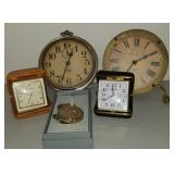 Group of 6 Clocks with Walleye Pocket Watch