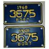 1968 Michigan BOAT License Plates