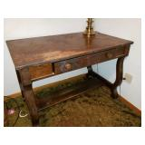 1910 Jacobean Style Parlor Desk with Brass Lamp