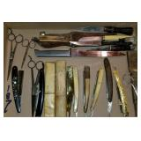 Collection of Straight Razors, Knives and Scissors