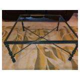 Iron Frame Glass Top Coffee Table