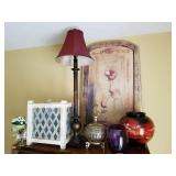 Decorative Group of Vases, Clock, Lamp and More
