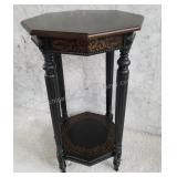 Wood Octagon Gold Stenciled Accent Side Table