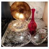 KITCHEN: Serving Platter, Red Vase, Salad Bowl etc