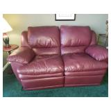 Burgendy Leather Reclining Loveseat