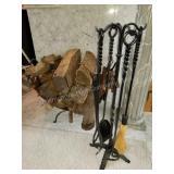 Wrought Iron Fireplace Tool Set with Log Rack
