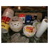 Party Supplies: Popcorn Buckets, Candle, Plates